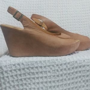 Kork-Ease Tan Leather Platform Sandals